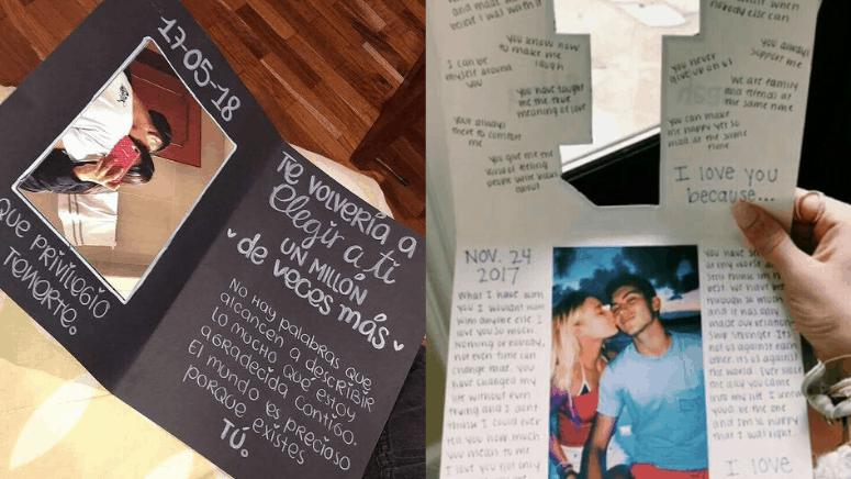 Creativas cartas hechas a mano para enamorados