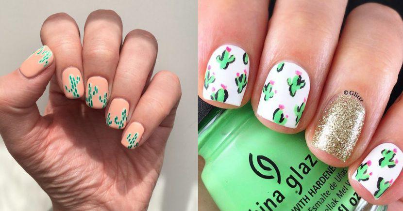 Decoración de uñas con cactus, ¡Los cactus invaden tus uñas!