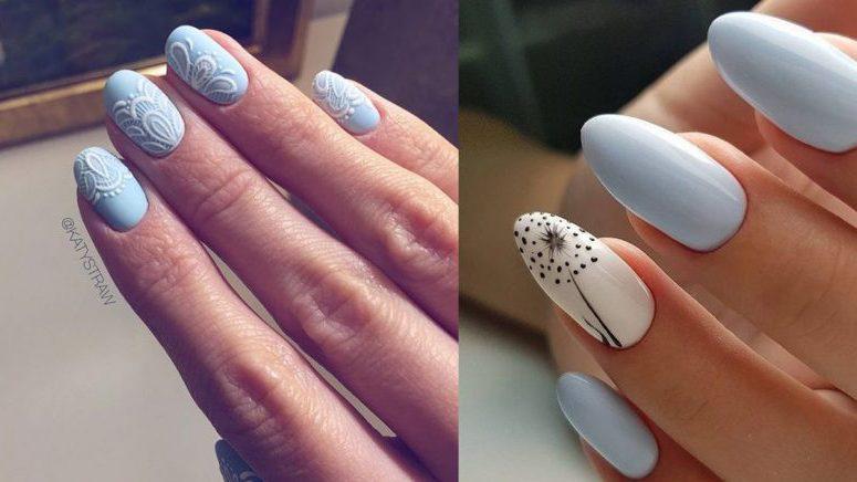 Increíbles diseños de uñas que puedes hacer con el tono baby blue