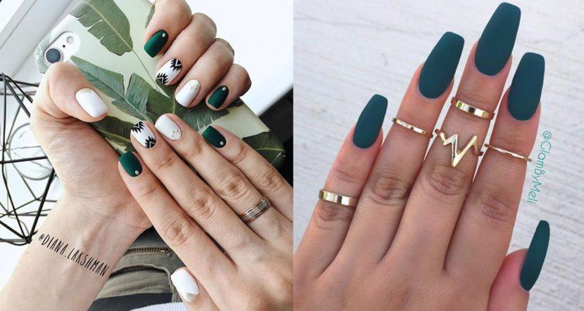 15 formas increíbles de llevar las uñas en color verde