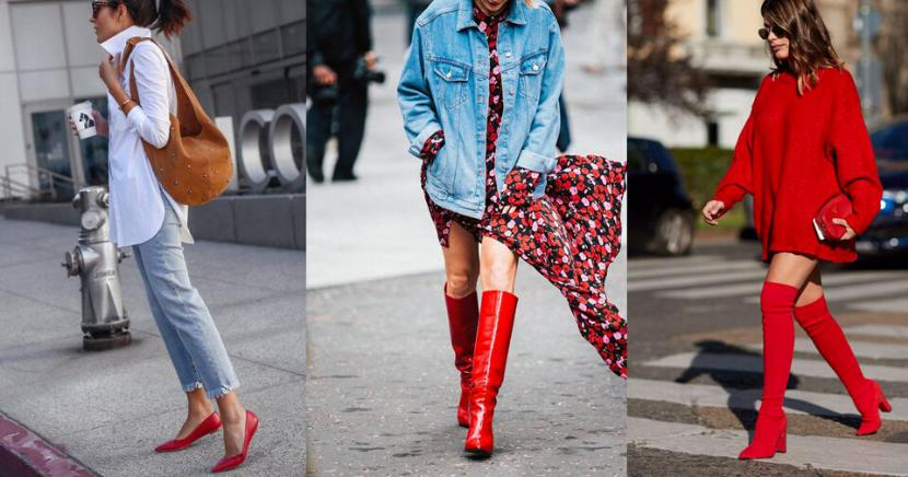 Aprende a llevar zapatos rojos en el street style