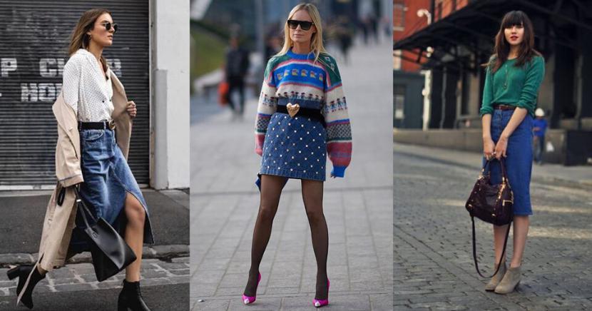 Formas de usar faldas denim en invierno