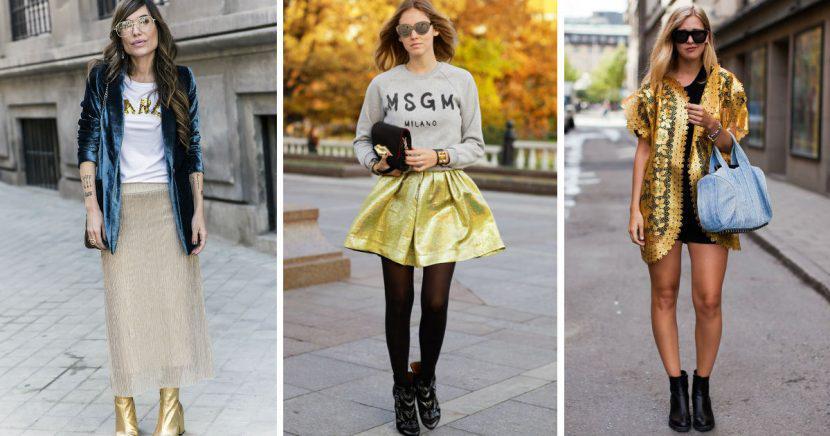 Aprende a llevar prendas doradas como toda una fashionista