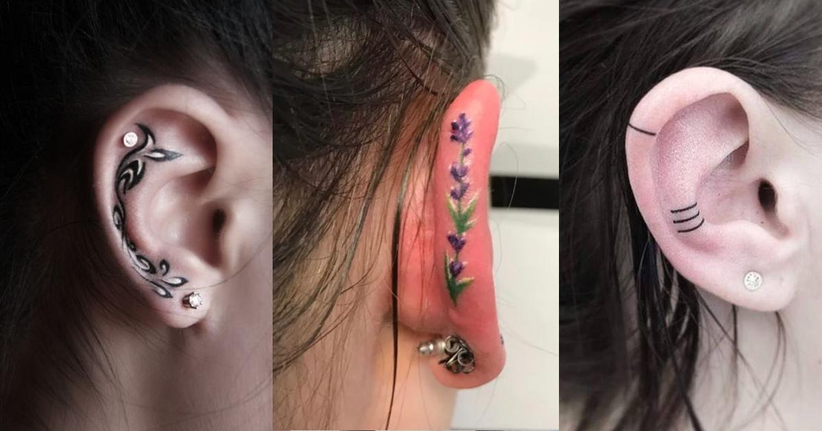 12 tatuajes Helix que llenarán de color tus oídos