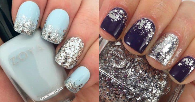 Diseños de uñas glitter para tu cena de Navidad