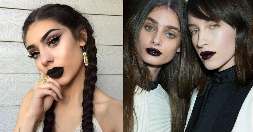 Looks para mujeres que aman usar labiales obscuros