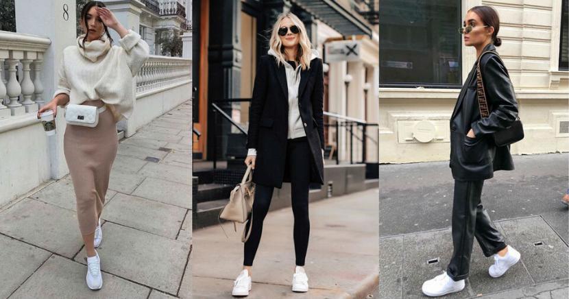 Outfits de invierno con tenis blancos