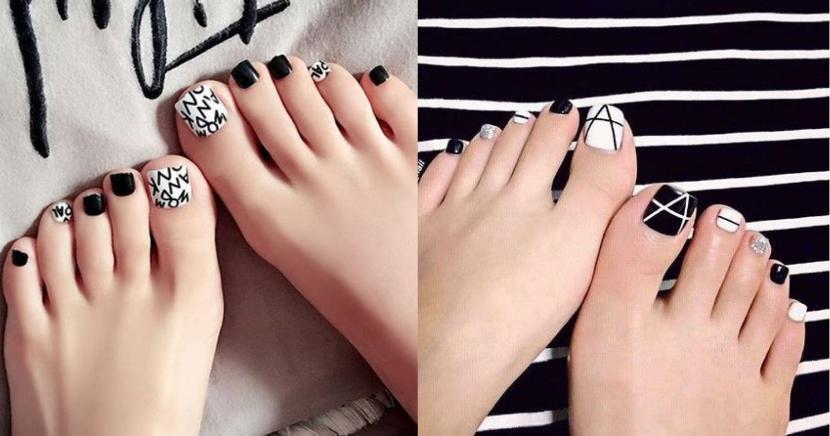 ideas de diseños de uñas para pies en color negro