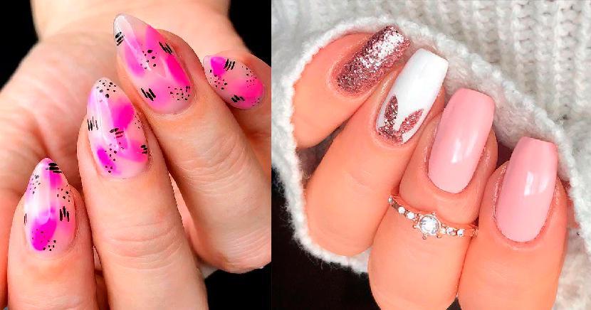 ideas de diseños de uñas rosas