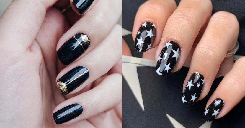 Ideas de uñas negras para las fiestas del año
