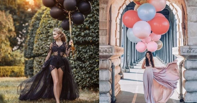 Poses para fotos de cumpleaños con globos