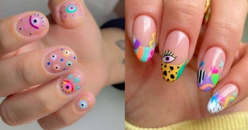 Diseños de uñas con ojos y pestañas