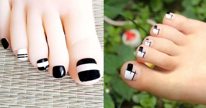 Diseños de uñas en blanco y negro para pies