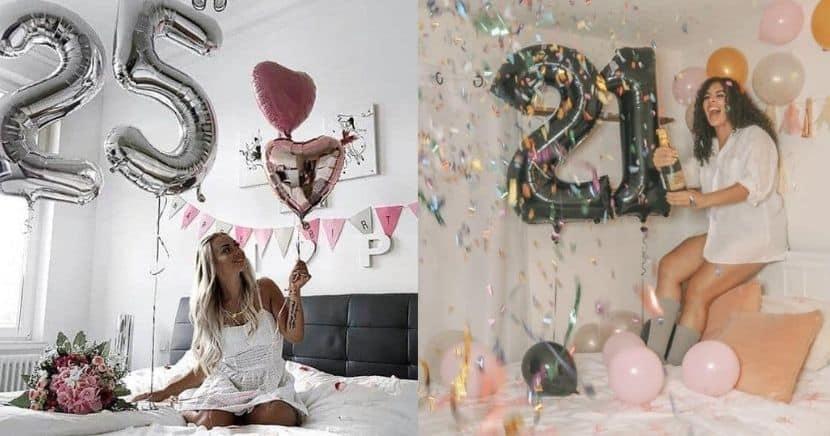 Ideas de fotos de cumpleaños en la cama