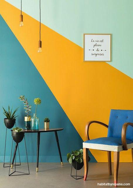 Formas sencillas de decorar tus paredes usando colores - Juega con figuras