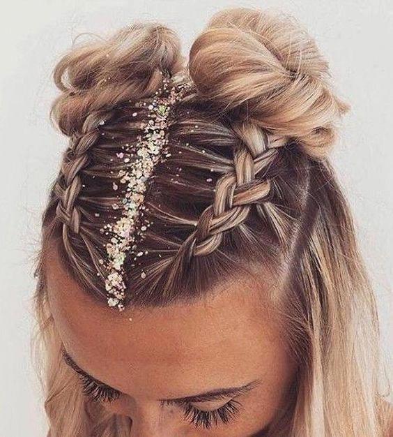 ideas de peinados para cabello corto - Chonguitos con trenzas