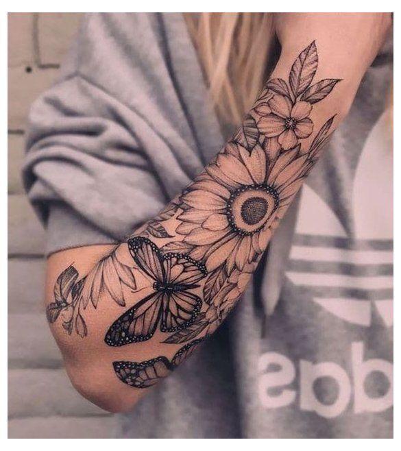ideas de tatuajes en el brazo para chicas - Flores y plantas en blanco y negro