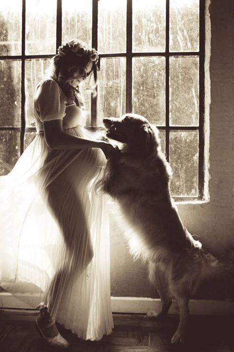 Ideas de fotos creativas para embarazadas - Con tu perrito