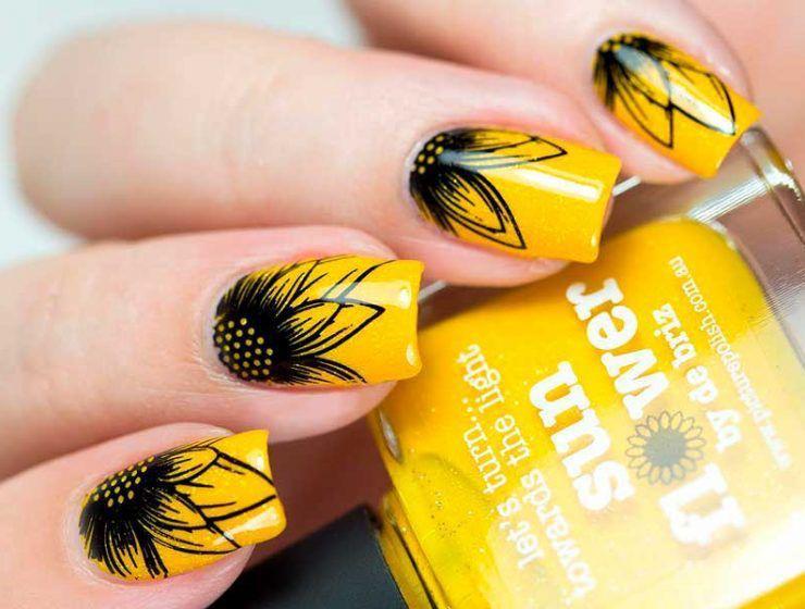 Ideas de uñas de girasol negras - Líneas