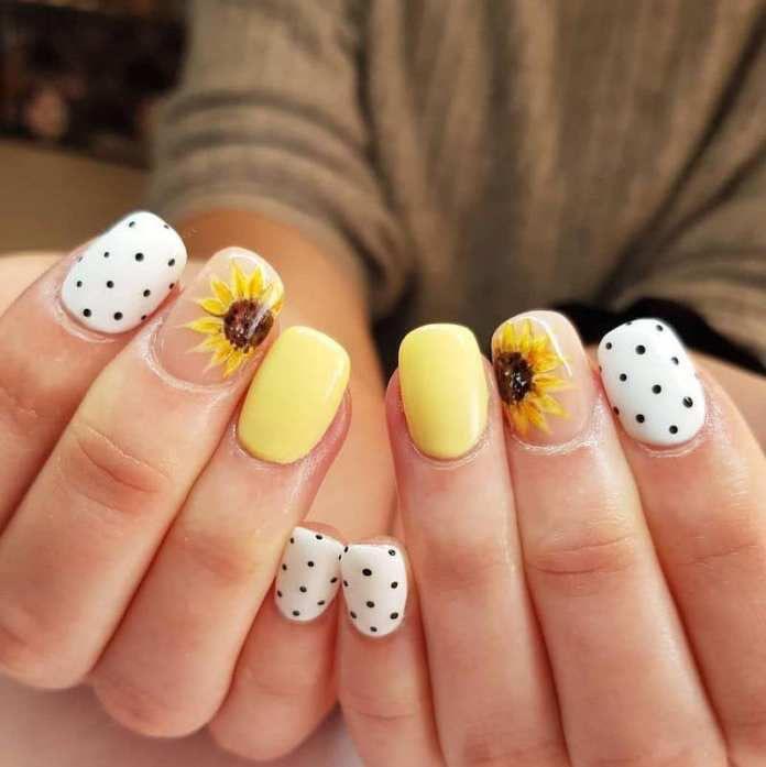 Ideas de uñas de girasol negras - Puntitos