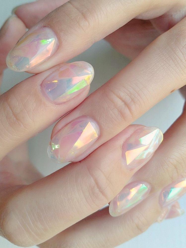 Diseños para uñas cortas súper fáciles - Uñas Aurora Boreal