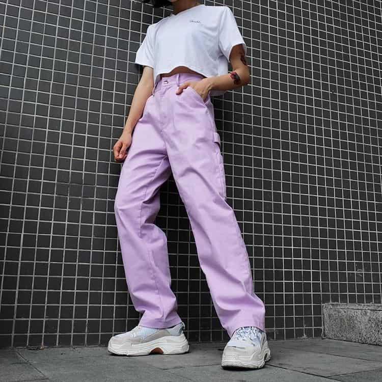Outfits aesthetic para ir a la escuela - Pantalónes de colores