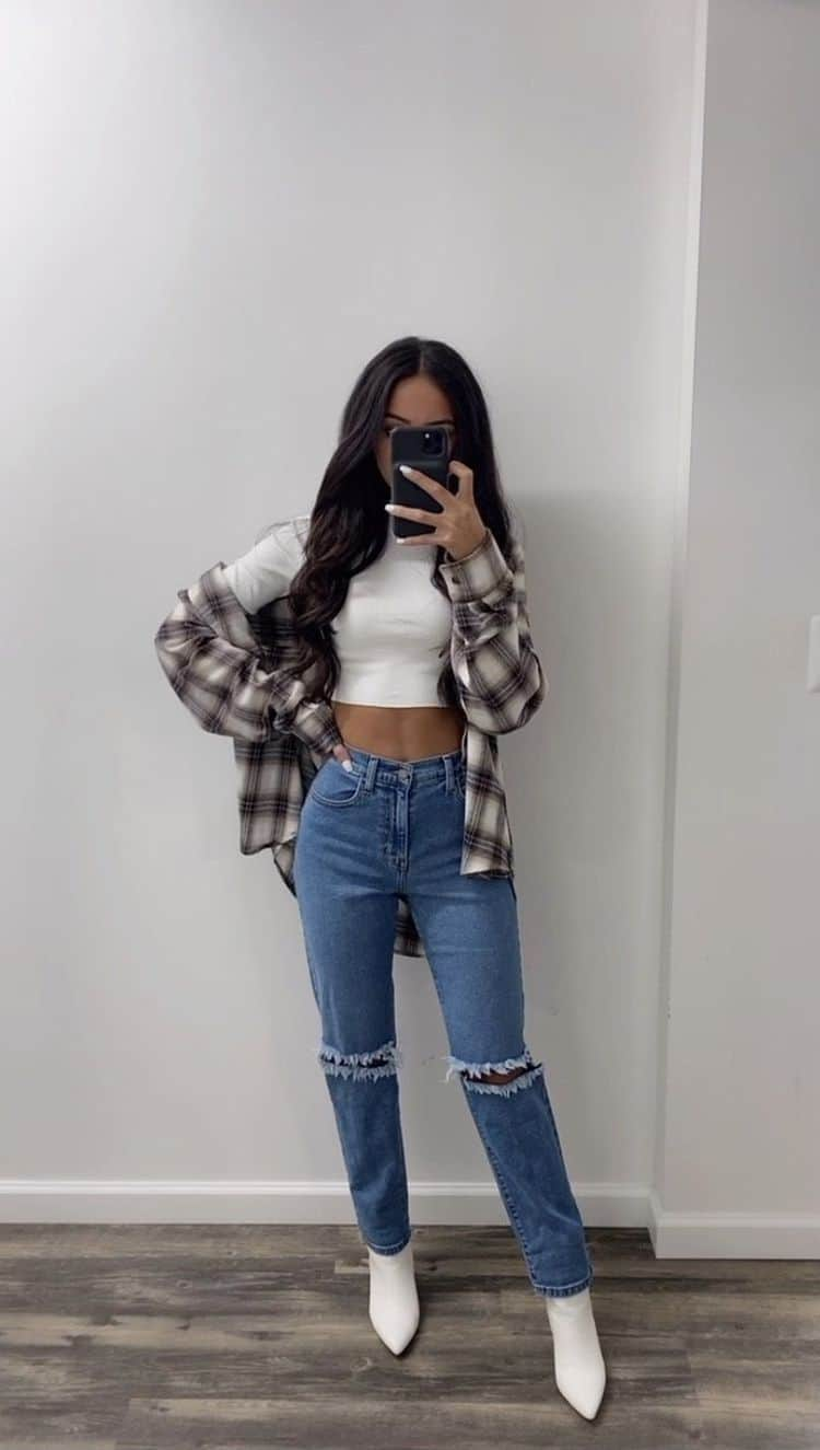 Outfits aesthetic para ir a la escuela - Camisa Oversize a cuadros