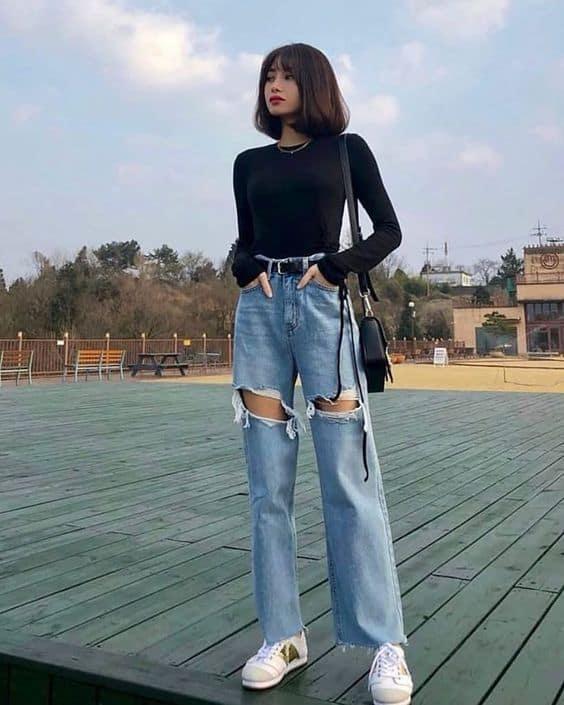 Outfits aesthetic para ir a la escuela - Jeans
