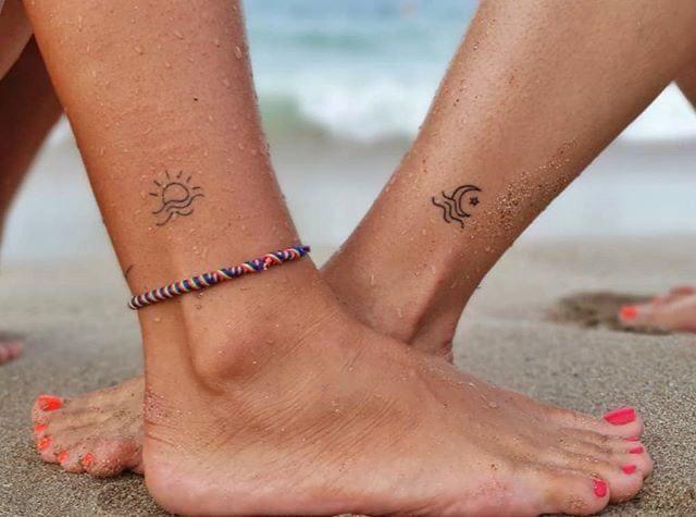 Tatuajes aesthetic para mejores amigas - Luna y Sol